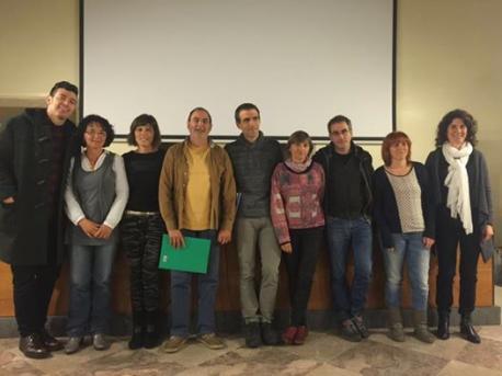 Iván Huerga SUATEA xunto a compañeros de sindicatos educativos en Galicia
