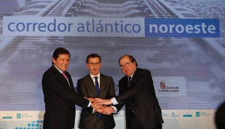 Javier Fernández, Alberto Núñez Feijóo y Juan Vicente Herrera nel Alcuentru pal Impulsu del Corredor Atlánticu Noroeste