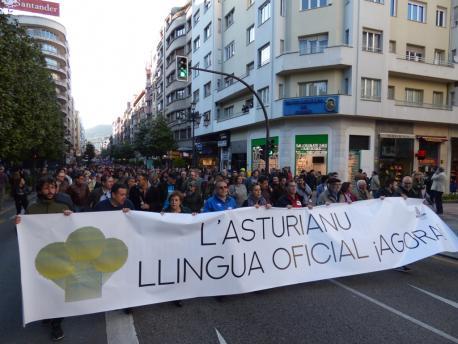 Manifestación oficialidá XL Día de les Lletres Asturianes
