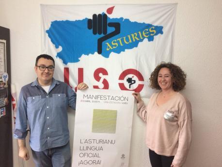 Miguel Rivero García y Begoña Díaz-Penedo USO manifestación oficialidá