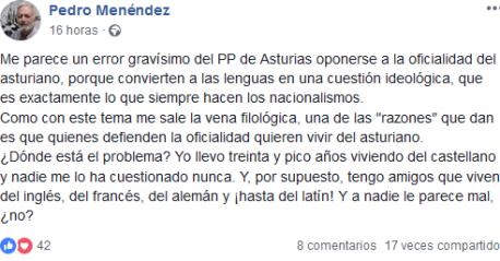 Opinión de Pedro Menéndez en Facebook sobre videu del PP