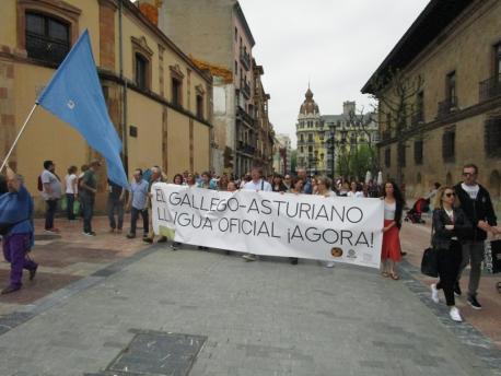 Pancarta oficialidá del gallego-asturiano'l 21-A