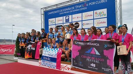 Podiu primera categoría femenina Estatal de Triatlón por clubes