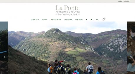 Portada de la web de La Ponte-Ecomuséu n'asturianu