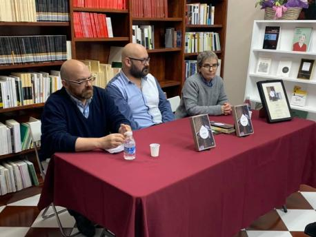 Rafael Rodríguez Valdés, Xesús González Rato y Esther Prieto presentación '1984' en Trabe