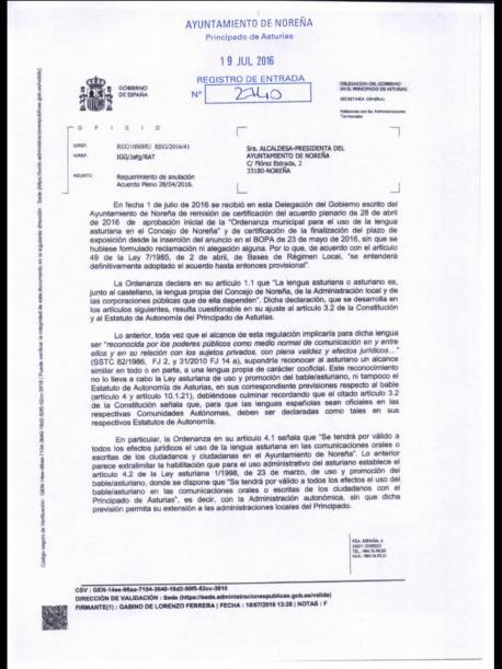 Delegación del Gobiernu da marcha atrás con respeuto a les ordenances d'asturianu de Noreña