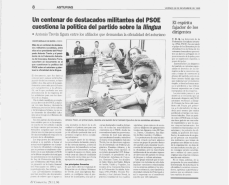 Recorte de 'El Comercio' sobre Trevín, PSOE y oficialidá