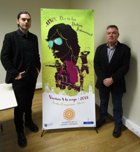 Santiago Fano y Xosé Antón González Riaño cartelu XXXIX Día de les Lletres Asturianes