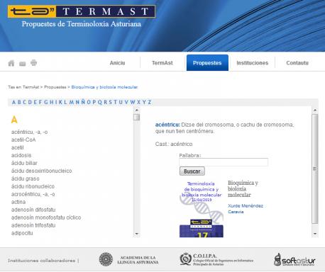 TermAst 'Terminoloxía de bioquímica y bioloxía molecular'