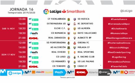 Xornada 16 Segunda División