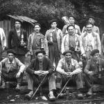 Mineros asturianos de la mina La Encarná, en L'Agüeria Carrocera, Samartín del Rei Aurelio, tomada en 1955
