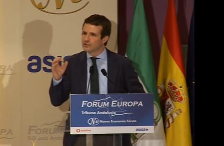 Pablo Casado bable nel Fórum Europa Tribuna Andalucía
