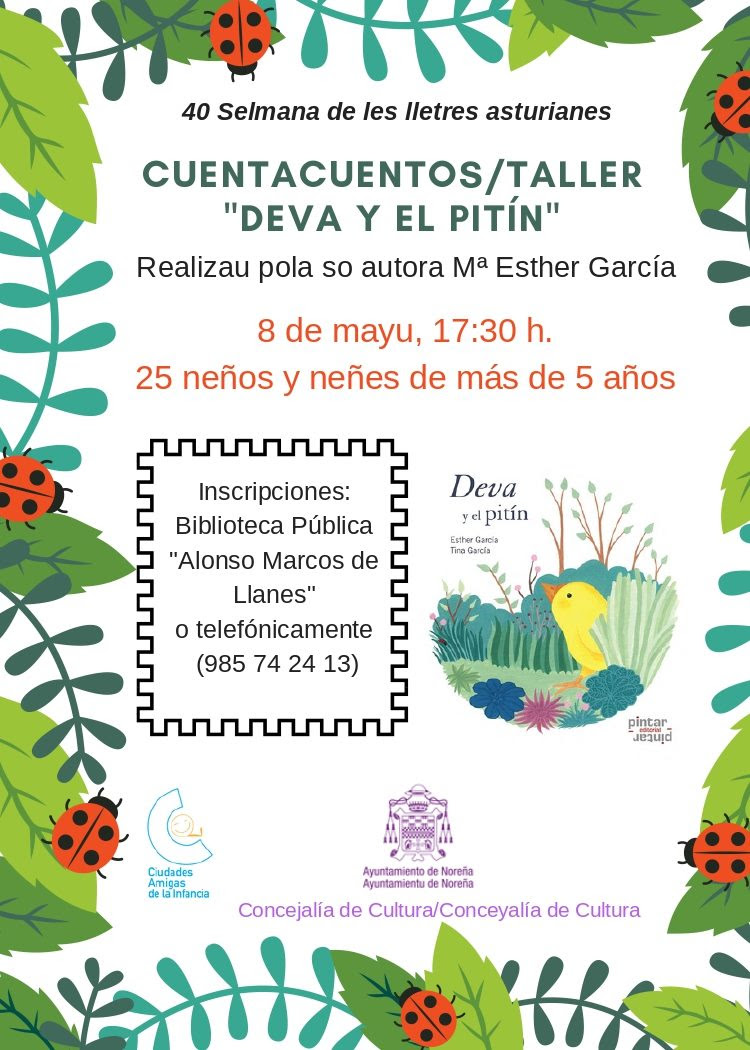 Esther García pon un cuentacuentos-taller na Biblioteca Pública de Noreña