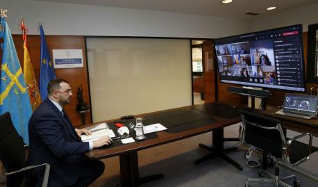 Adrián Barbón xunta telemática Comité de Crisis COVID-19