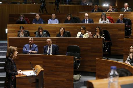 Ana Cárcaba y grupu socialista Plenu enmienda a la totalidá presupuestu