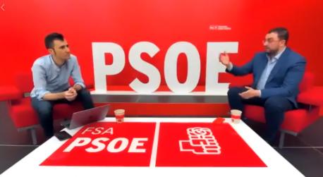 Andrés Suárez y Adrián Barbón alcuentru virtual cola militancia