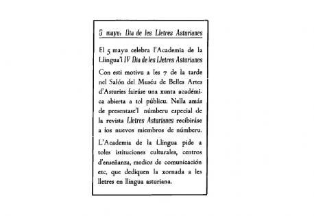 Anuncia IV Día de les Lletres Asturianes con fondu