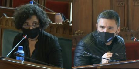 Berta Piñán y Rafael Palacios na comisión de Cultura, Política Llingüística y Turismu cultura en RTP