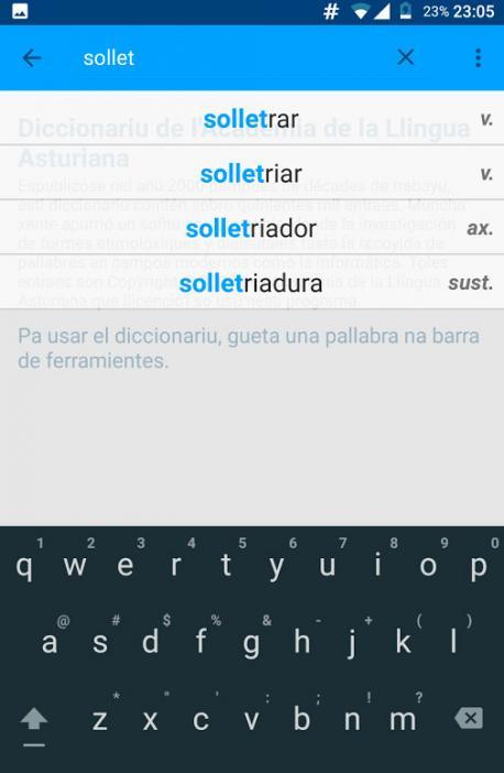 Softastur asoleya un 'Diccionariu' d'asturianu nuevu más completu p'Android