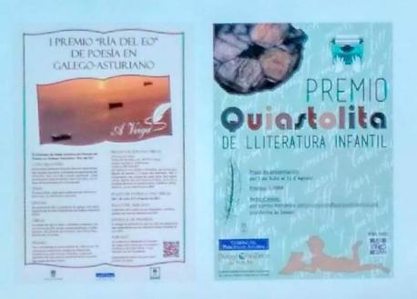 Cartelos de la primer edición de los premios lliterarios en gallego-asturiano Ría del Eo y Quiastoli