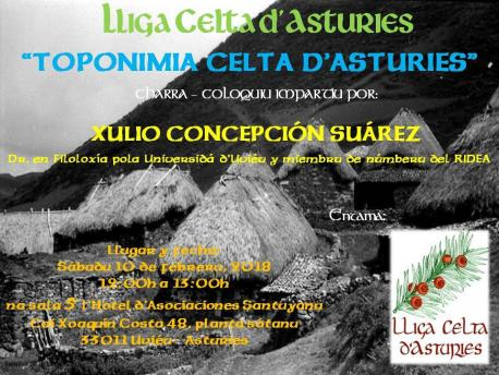 Cartelu charra toponimia celta Lliga Celta d'Asturies