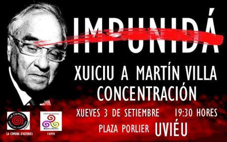 Cartelu concentración xuiciu a Martín Villa