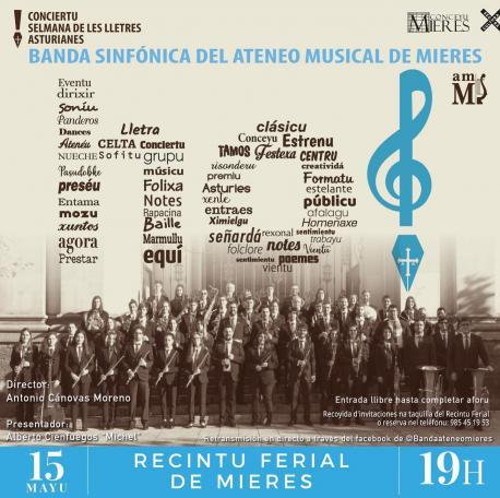 Cartelu Conciertu Selmana de les Lletres Asturianes en Mieres
