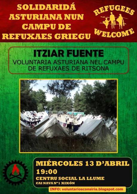 Fuente va contar la so esperiencia nun campu de refuxaos en Grecia