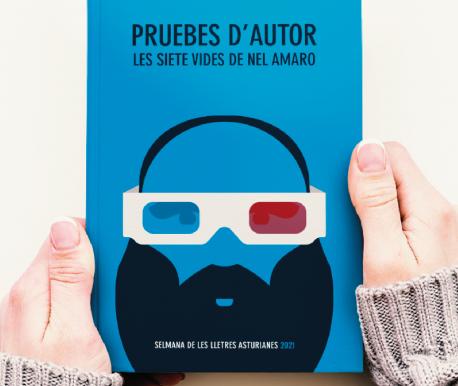 Cartelu del Día del Llibru Asturianu 2021 recortáu llibru