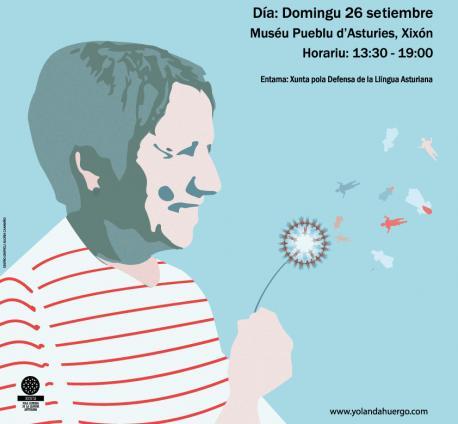 Cartelu d'homenaxe a Yolanda González Huergo