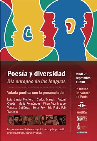 Cartelu Día Européu de les Llingües Instituto Cervantes París