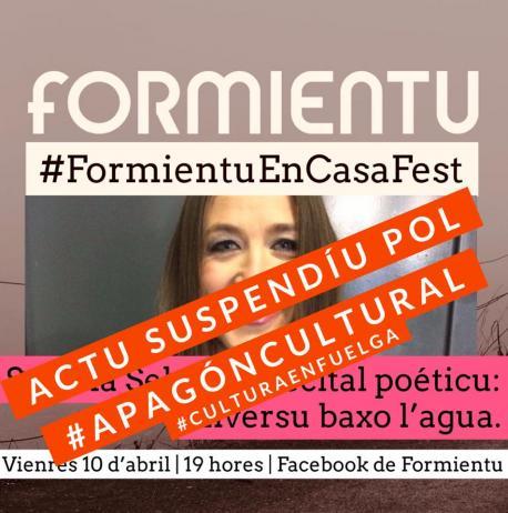 Cartelu #FormientuEnCasaFest Susana Sela actu suspendíu apagón cultural