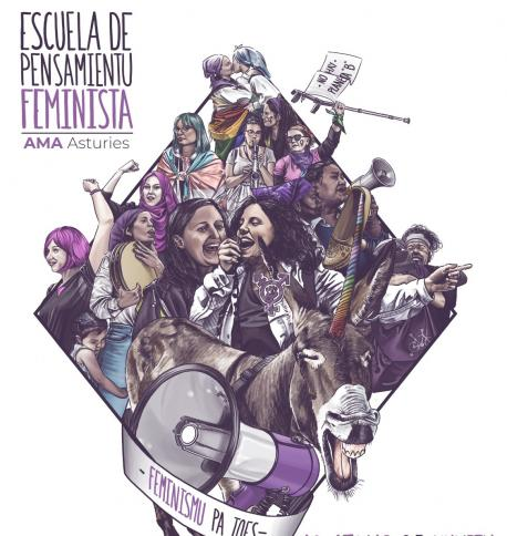 Cartelu II Escuela de Pensamientu Feminista d'AMA Asturies