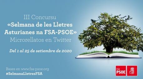 Cartelu III Concurso Semana das Lletras Asturianas na FSA-PSOE de Microrrellatos en Twitter