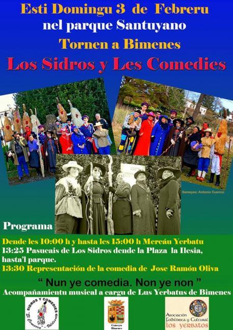 Cartelu Los Sidros y Les Comedies en Bimenes
