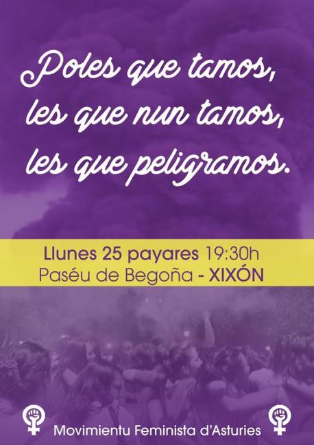 Cartelu manifestación 25-P Xixón
