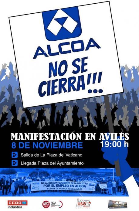 Cartelu manifestación 'Alcoa no se cierra'