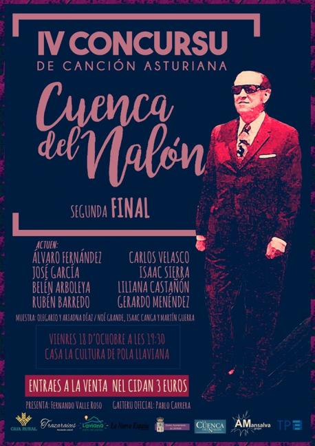 Cartelu segunda final IV Concursu de Canción Asturiana Cuenca del Nalón