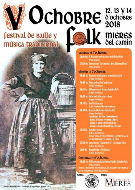 El V Ochobre Folk de Mieres lleva les actividaes del sábadu al parque Xovellanos
