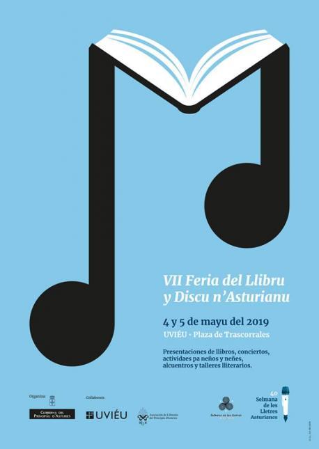 Cartelu VII Feria del Llibru y Discu n'Asturianu
