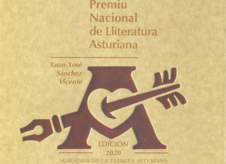 Cubierta llibru conmemorativu II Premiu Nacional de Lliteratura Asturiana Xuan Xosé Sánchez Vicente