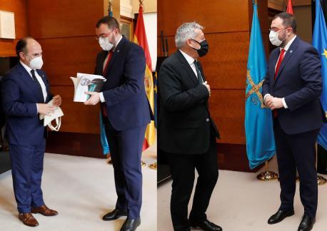 Ignacio Villaverde y Santiago García Granda con Adrián Barbón