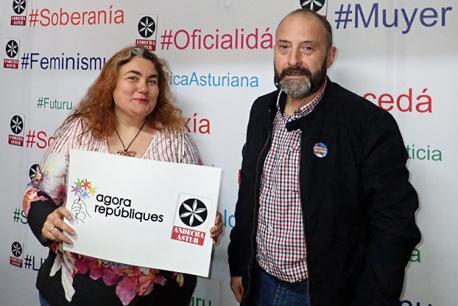 Llucía Fernández Marqués y Arturu Xosé Bermeyu candidatos Andecha