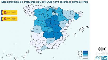 Mapa de provincies estudiu preliminar de seroprevalencia