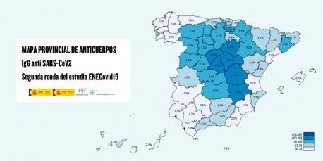 Mapa de provincies segundu estudiu preliminar de seroprevalencia COVID-19