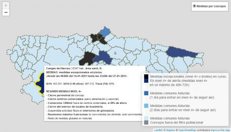 Mapa tercer fola del Observatoriu de Salú n'Asturies