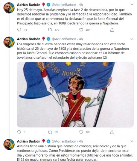 Mensaxes d'Adrián Barbón en Twitter 25-M