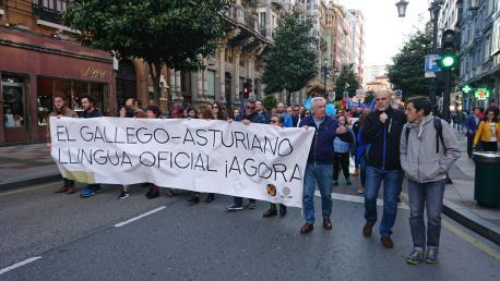 Pancarta gallego-asturiano Día de les Lletres 2019