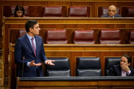 Pedro Sánchez y Pablo Iglesias Congresu estáu d'alarma