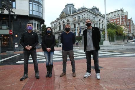 Rafael Palacios, Nuria Rodríguez, Daniel Ripa y Ricardo Menéndez Salmón (diputaos Podemos)